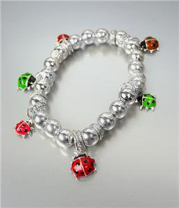 ADORABLE Multi Enamel Ladybugs Ladybug Charm Silver Beads Small Stretch Bracelet