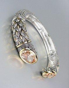 STUNNING Designer Inspired Brown Topaz CZ Crystals Balinese Cuff Bracelet
