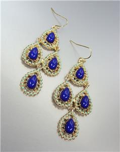 Urban Anthropologie Gold Turquoise Enamel Dark Blue Beads Chandelier Earrings