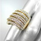 GORGEOUS SHIMMER 9 Rows CZ Crystals Gold Plated Cocktail Statement Ring