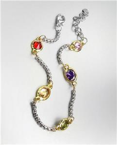 GORGEOUS Designer Style Silver Box Chain Cable Multicolor CZ Crystals Bracelet