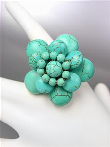 FABULOUS Natural GENUINE Turquoise Stones Floral Flower Stretch Ring