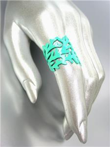 CHIC & UNIQUE Natural Turquoise Blue Coral Lacquer Enamel Coral Motif Metal Ring