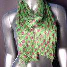 Silky Lightweight Apple Green Fuchsia Pink Polka Dots Crinkled Gauze Scarf