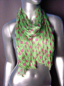 Silky Lightweight Apple Green Fuchsia Pink Polka Dots Crinkled Gauze Scarf