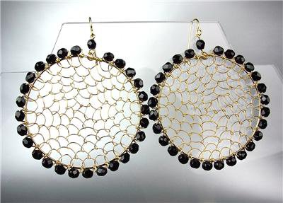 CHIC Black Onyx Crystal Beads Gold Honeycomb Mesh Chandelier Peruvian Earrings
