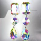 GLITZY Iridescent AB Czech Crystals LONG Bridal Queen Pageant Prom CLIP Earrings
