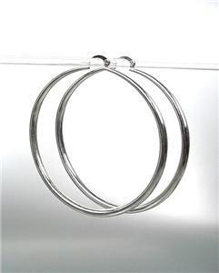 "CHIC Smooth SILVER Metal Large 2 1/2"" Diameter THIN Round Hoop Pincatch Earrings"