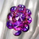 GLITZY Fuschia Purple Czech Crystals Oval Cluster Large Pageant Cocktail Ring
