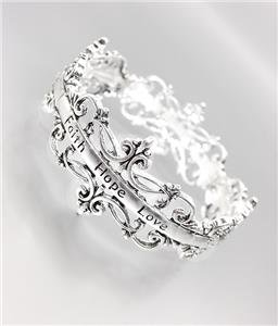 INSPIRATIONAL Silver Antique Filigree FAITH HOPE LOVE Stretch Bracelet