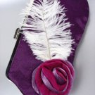 Chic Purple Satin Flower Bouquet Plume Feather Clutch Evening Purse Bag