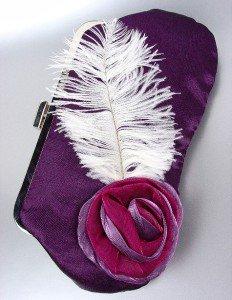 Chic Purple Satin Flower Bouquet Plume Feather Clutch Evening Purse Bag