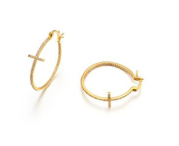 """CLASSIC Thin 18kt Gold Plated Inside Outside CZ Crystals CROSS 1"""" Hoop Earrings"""