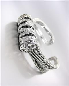 UNIQUE Silver Clear Black CZ Crystals Zebra Motif Medallion Cables Cuff Bracelet
