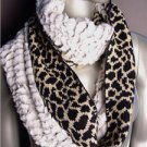 WARM EXOTIC Brown Black Leopard Knit Faux Fur Chinchilla Infinity Eternity Scarf