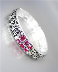 NEW Brighton Bay Fuchsia Pink CZ Crystals Silver Black Filigree Stretch Bracelet