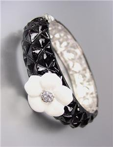 CLASSIC Designer Style Black Quilted White Camille CZ Crystals Flower Bracelet