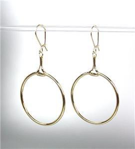 CHIC Designer Inspired Gold Horsebit Ring Dangle Earrings