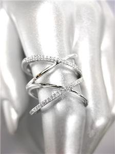 CHIC & UNIQUE Thin 18kt White Gold Plated CZ Crystals Double X Wide Ring