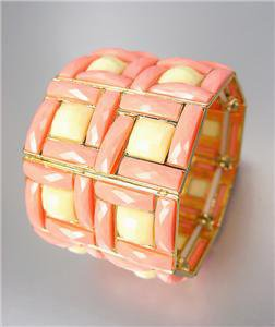 EXPRESSIVE Chunky Coral Salmon Creme Acrylic Crystals Gold Stretch Bracelet
