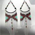 Black Turquoise Silver Chains Bohemian Boho Gypsy Peruvian Chandelier Earrings