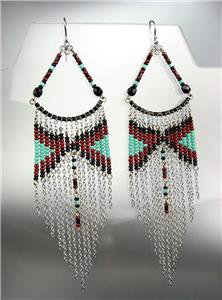 Black Turquoise Silver Chains Bohemian Boho Gypsy Peruvian Chandelier Earrings