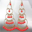STUNNING Coral Red Crystal Beads Gold Chandelier Dangle Peruvian Earrings B46-2