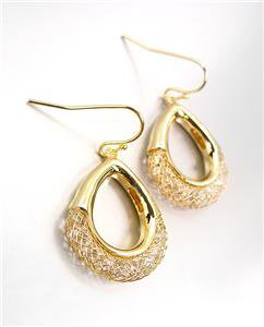 SHIMMERY SPARKLE 18kt Gold Plated Wire Mesh Ring CZ Crystals Dangle Earrings