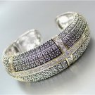 EXQUISITE Designer Style Silver Gold CZ Crystals Dots Texture Hinged Bracelet