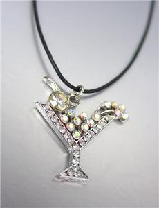 ADORABLE SPARKLE Clear Iridescent AB Crystals MARTINI COCKTAIL Pendant Necklace
