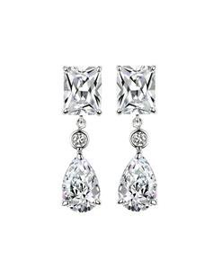 STUNNING 18kt White Gold Plated Emerald Tear Drop 2.25 CT CZ Crystal Earrings