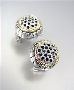 CLASSIC Designer Style Balinese Silver Dots Texture Black CZ Crystals Earrings