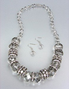 Urban Anthropologie Smoky Czech Crystals Hematite Rondells Necklace Earrings Set
