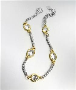 GORGEOUS Designer Style Silver Box Chain Cable Clear Quartz CZ Crystals Bracelet