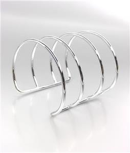 CHIC & MODERN Silver Metal Wire Ribbed Wide Gladiator Cuff Bracelet PLUS SIZE