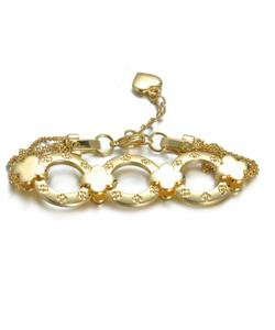 NEW Designer Inspired Gold Clover Clovers Ring Links Chain Bracelet