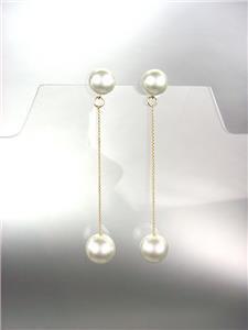 "CHIC Creme Pearls 3"" Long Thin Gold Chain Drop Dangle Earrings"