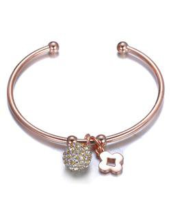 CHIC Designer Style Pave CZ Crystals Ball Clover Charms Rose Gold Cuff Bracelet