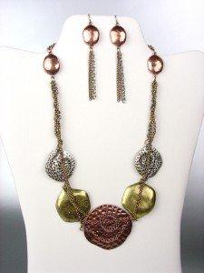 UNIQUE Antique Multicolor Metal Disks Chains Drape Necklace Earrings Set