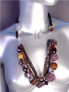 GLITZY Chocolate Brown Czech Crystals Pearls Beads Velvet Necklace Set