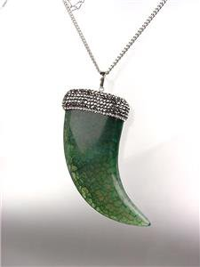 EXQUISITE Marble Green Jade Agate Marcasite Crystals Italilan HORN Long Necklace