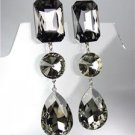 GLITZY Smoky Gray Black Czech Crystals LONG Bridal Queen Pageant CLIP Earrings
