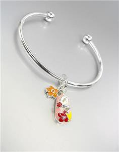 ADORABLE Pink Multi Lacquer Enamel Baby Shoe Flowers Charm Silver Cuff Bracelet