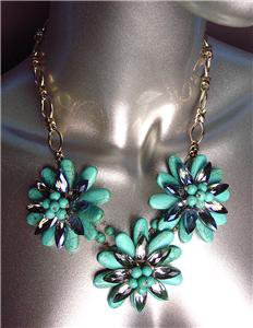 STUNNING Urban Anthropologie Turquoise Smoky Czech Crystals Florals Necklace Set