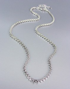 "Designer Style Silver Box Chains 16"" Long Necklace Chain"
