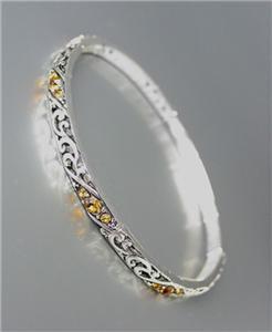 CLASSIC Brighton Bay Silver Filigree Brown Topaz CZ Crystals Stretch Bracelet