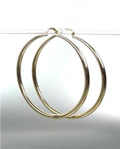 "CHIC Smooth GOLD Metal Large 2 1/2"" Diameter THIN Round Hoop Pincatch Earrings"