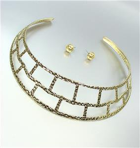 CHIC Chunky Cleopatra Statement Gold Hammered Texture Collar Choker Necklace Set