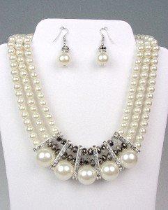 ELEGANT Dressy Creme Pearls SILVER Crystals Bridal Drape Necklace Earrings Set