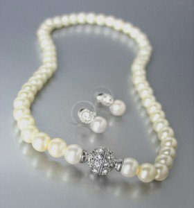 Designer Inspired Creme Pearls Magnetic Eternity Pave CZ Crystals Necklace Set